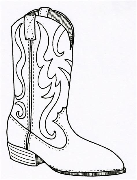 Drawing Of A Cowboy Boot Printable Free Coloring Pages Of How To Draw Cowboy Boots