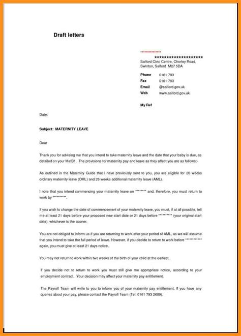 back to work template 10 exle of maternity leave letter parts of resume