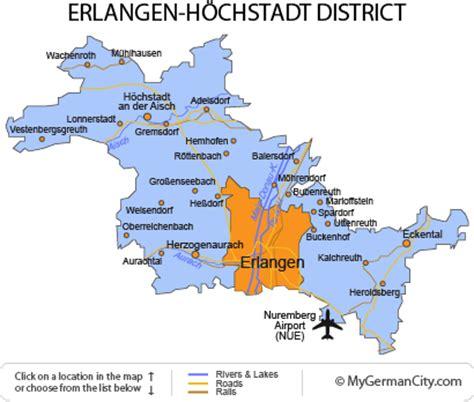 map of erlangen germany erlangen h 246 chstadt district franconian hospitality