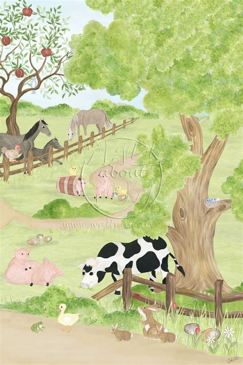 Farm Wall Mural wall about fun farm friends movable mural kids