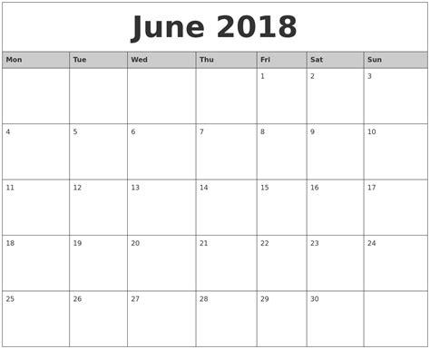 printable june 2018 calendar june 2018 monthly calendar printable