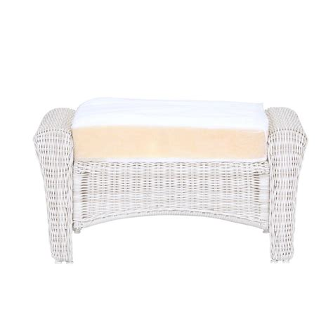 white wicker ottoman hton bay park meadows off white custom wicker outdoor