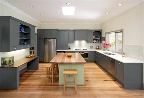Large Kitchen Island Designs by Bloombety Large Kitchen Island Design With Grey Wardrobe