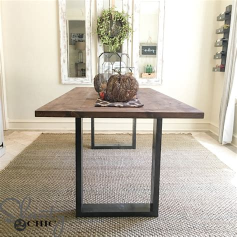 build a rustic dining room table diy rustic modern dining table shanty 2 chic frugal