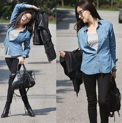 Becky Korean Bag becky baek denim shirts gray t shirts black leather