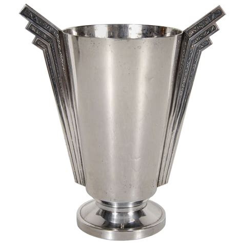 Deco Vase by Stunning Deco Skyscraper Style Silver Plate Vase At