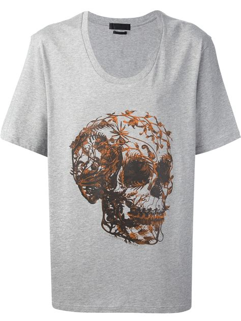 T Shirt Skull Print lyst mcqueen foliage skull print t shirt in gray for