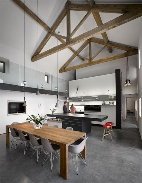 Modern Barn Kitchen by Historic Barn Reinvented Into Modern Residence With Exposed Trusses Home Design And Decor Reviews