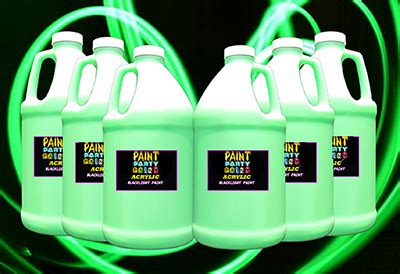 glow in the paint by the gallon 6 pack 189 gallon acrylic luminous glow in the