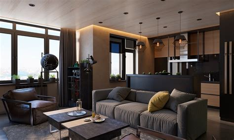 what is living room 3 living spaces with and decadent black interiors