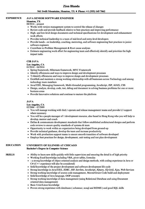 java experience resume format java resume sles velvet