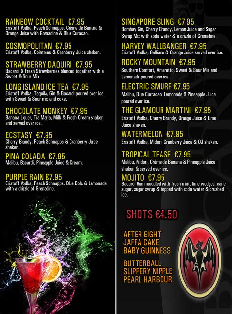 cocktail drinks menu cocktail classes limerick pub in limerick limerick