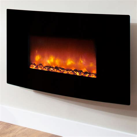 electric wall fires modern be modern orlando curved black glass electric
