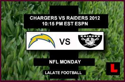 chargers score tonight chargers vs raiders 2012 deliver monday football