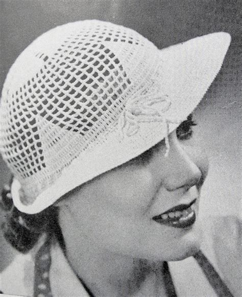 artist hat pattern 1930s art deco flirty crocheted brimmed lacey hat instant