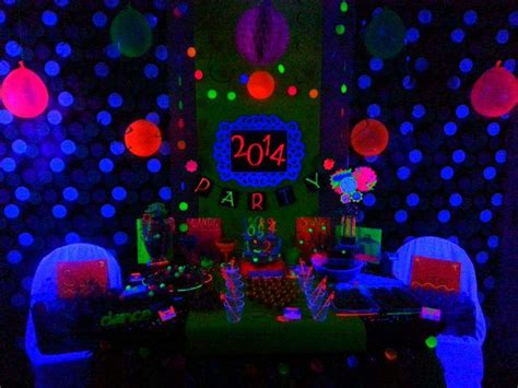 black light party decorations neon new years new year s party ideas photo 1 of 93