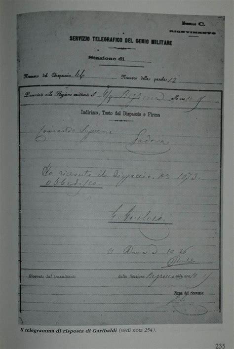 testo telegramma battaglia della bezzecca obbedisco ma la firma non 232 di