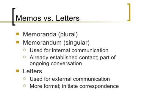 Business Letter Vs Memo Memos Letters And Email Correspondence