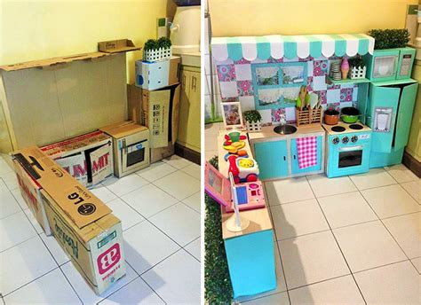 Cardboard Kitchen by How To Create A Mini Cardboard Kitchen For Your Toddler