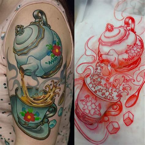 watercolor tattoos healed 1000 ideas about teapot on teacup