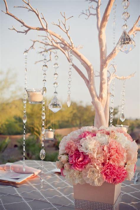 manzanita branch coral reception wedding flowers, wedding