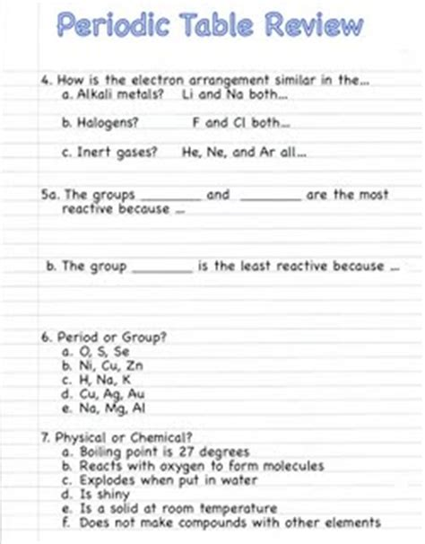 periodic table review worksheet answers quia class page notebook unit 2