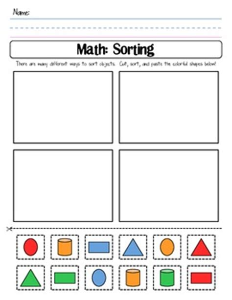Sorting Shapes Worksheets For Kindergarten by Color Shape Sort Cut And Paste Worksheet By Shannon