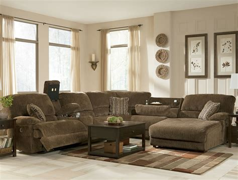 rustic brown sectional sofa with recliners and chaise