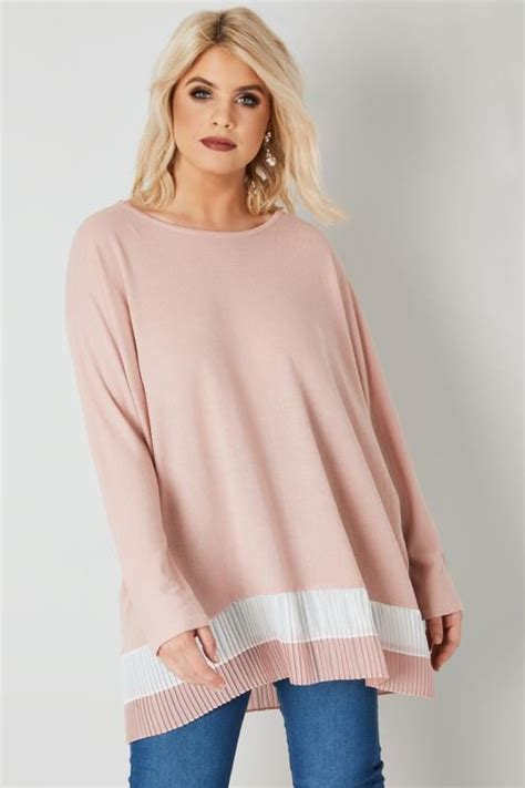 Blue Pleated Stripe Top Size S M 14798 blue vanilla curve dusky pink knitted top with pleated