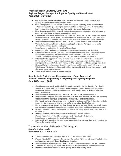 Quality Engineering Resume Sles 2009 Quality Engineer Resume Weathers Mike