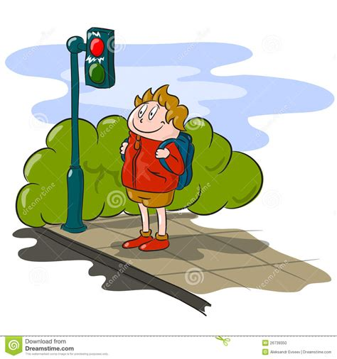 Audio Backpack Greenlight boy and stop light stock vector illustration of