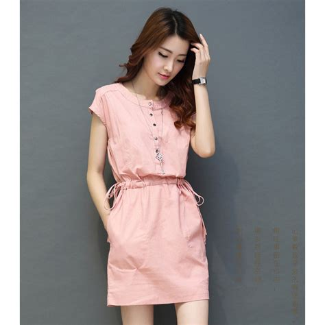 Dress Pink Wanita dress casual wanita cotton linen sleeve size m