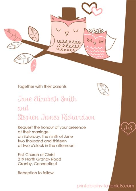 free pdf download wedding owls invitation with cute bride