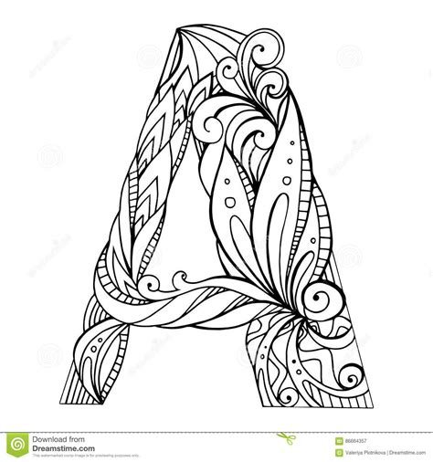 color with letter a capital letters for adults to colour in black and white