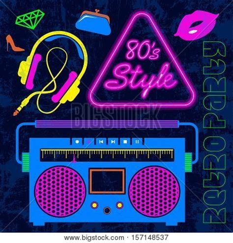 retro 80 s card templates 80 s retro neon style elements vector photo bigstock
