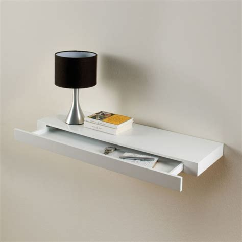 floating drawer shelf concealed storage white gloss