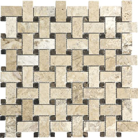 shop anatolia tile pablo basketweave mosaic travertine wall tile common 12 in x 12 in actual