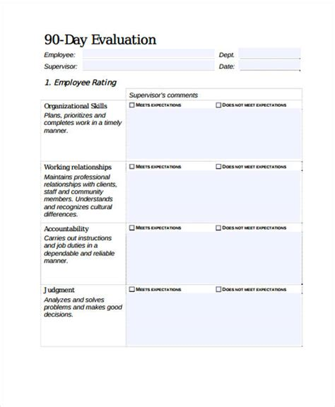 Employee Evaluation Form 90 Day Review Template