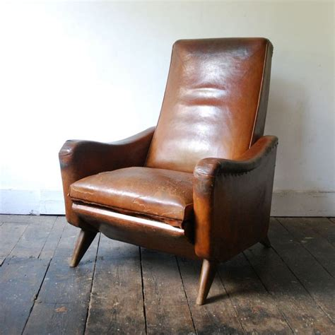 leather reclining armchairs 1950 s reclining leather club chair mid century armchair