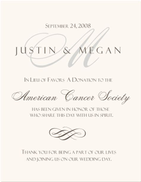 Wedding Gift Donation Site by Wedding Donation Cards Monogram Wedding Favor Cards