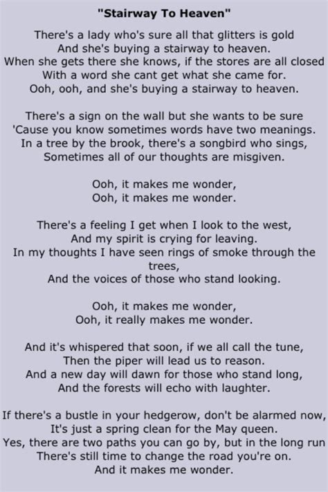 stairwells lyrics quot stairway to heaven quot top 1 000 tracks of all time