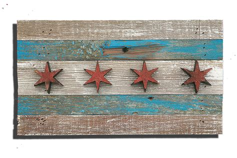 Handmade Chicago - handmade reclaimed wooden chicago flag vintage