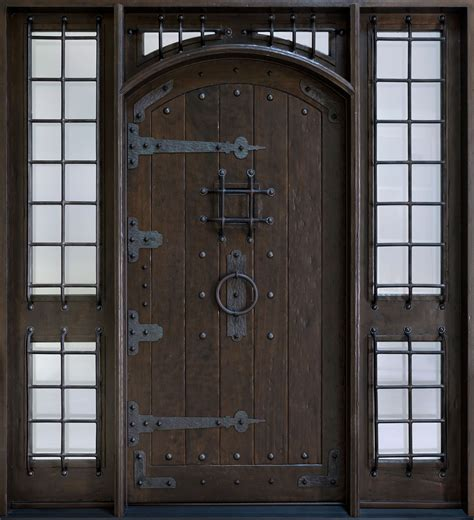Custom Wood Exterior Doors Front Door Custom Single With 2 Sidelites Solid Wood With Espresso Finish Rustic Model Db