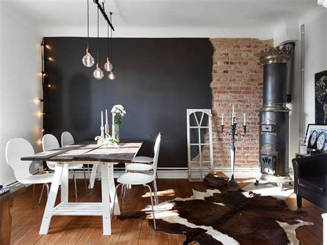 Neoclassical Decor by Half Brick Half Black Wall In A Swedish Living Room