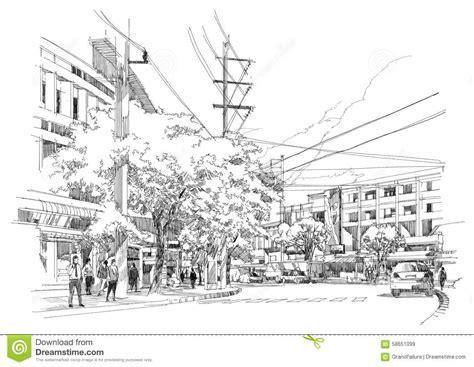 street sketchbook street graphics city street sketch stock illustration image 58651099