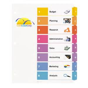 avery 5 tab index template table of contents color template for avery dividers book