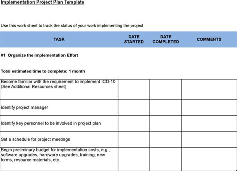 software implementation plan template 6 sle project implementation plan templates free