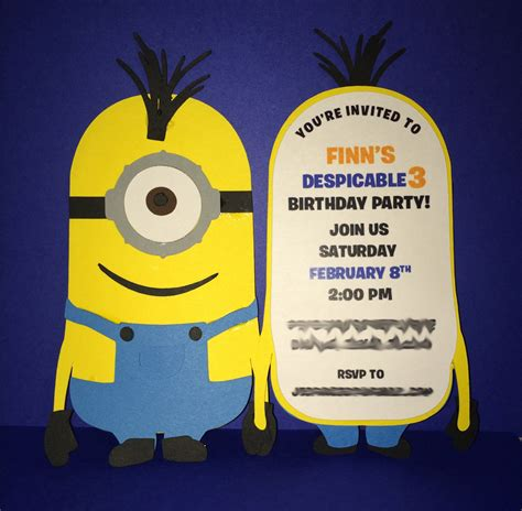 Handmade Minion Invitations - 10 minion die cut invitations on sale by leslisdesigns on etsy