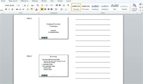 Powerpoint 2010 Create Presentation Handouts In Word Tips Presentation Handout Template Word