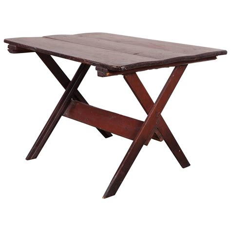 origin of sawbuck rustic sawbuck table with scrubbed top for sale at 1stdibs